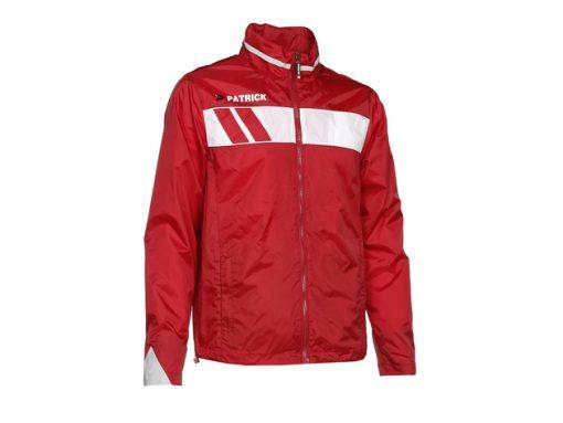 Giacca impermeabile con cappuccio rosso/bianco